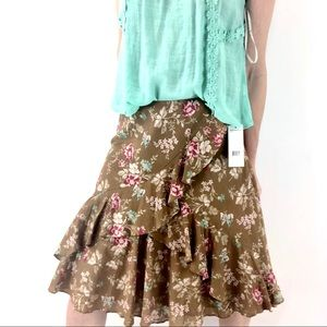 American living M Ruffle front floral midi skirt